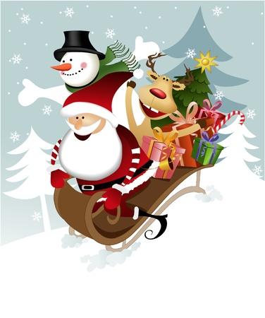 papa noel en trineo: Santa Claus con los amigos Vectores