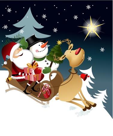 reindeer christmas: Santa Claus con los amigos Vectores