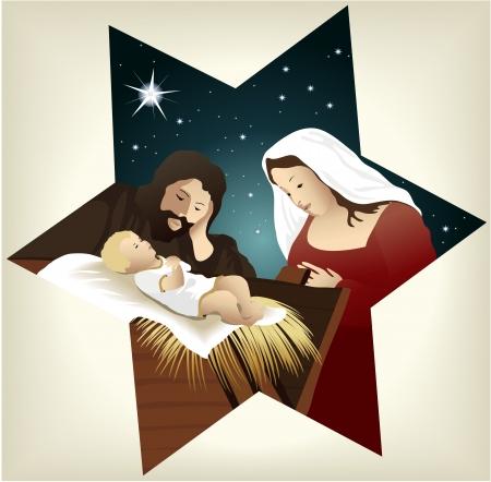 Kerstmis kerststal met heilige familie Vector Illustratie