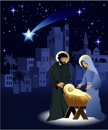Christmas nativity scene with holy family  Stock Vector - 14020213