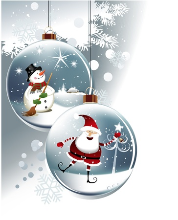 the snowman: Funny Christmas balls  Illustration