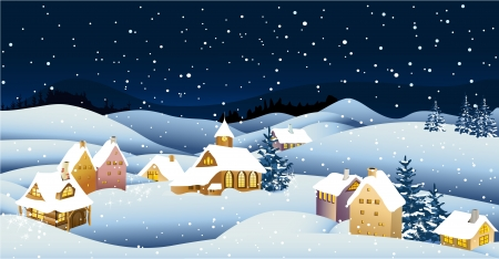 christmas snow: Christmas landscape background