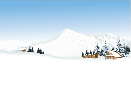 Winter landscape with high mountains  Vector