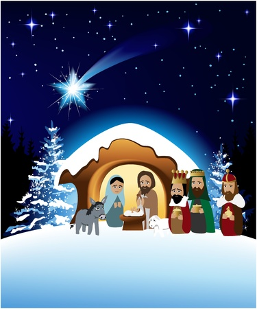 Christmas nativity scene with holy family Stock Vector - 14020236