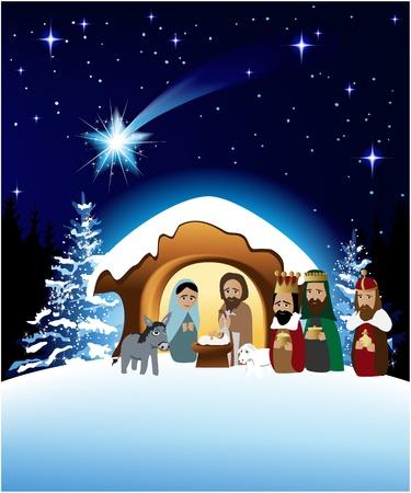 heilige familie: Weihnachtskrippe mit Heiliger Familie