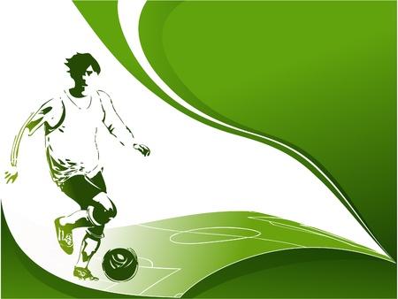 football silhouette: Calcio sfondo con lettore