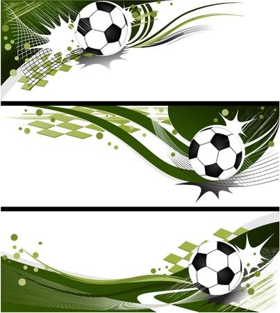 equipe sport: Banni�res de football - R�sum� milieux sportifs Illustration