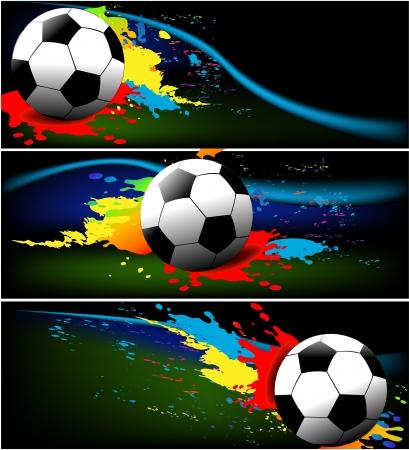bannière football: Bannières de football - Résumé milieux sportifs Illustration