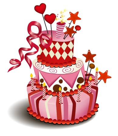 Big pink cake Stock Vector - 14093969