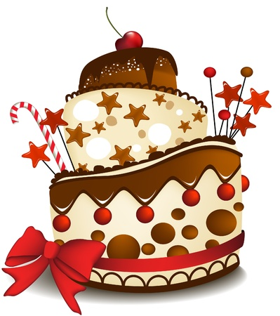 Big chocolate cake  Stock Vector - 14093980