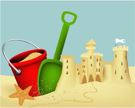 Sand castle building  Vector