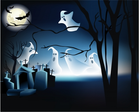 Halloween scene with ghosts