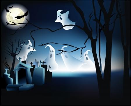 Halloween-Szene mit Geistern Standard-Bild - 14094007