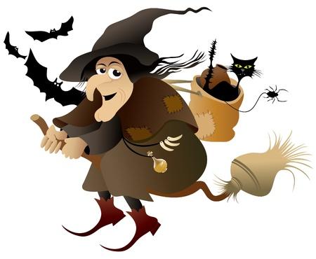 bruja: Vuelo de brujas de Halloween Vectores