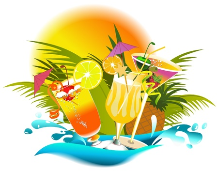 cocktail party: Tropical summer drinks  Illustration