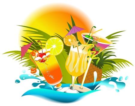 Tropikalne drinki lato Ilustracje wektorowe