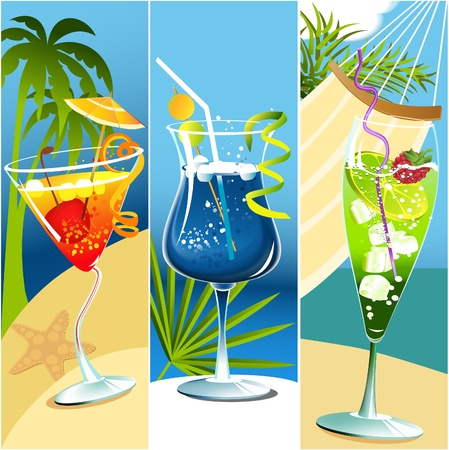 summer beach party: Summer banners with tropical drinks