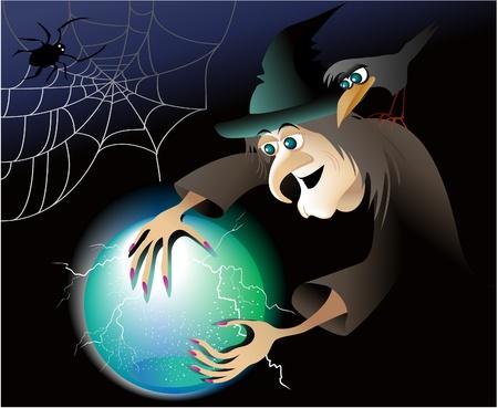 harridan: Halloween witch with magic ball
