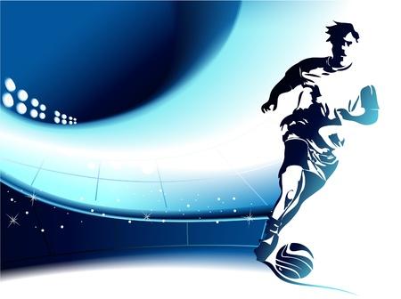 voetbal silhouet: Voetbal achtergrond met speler