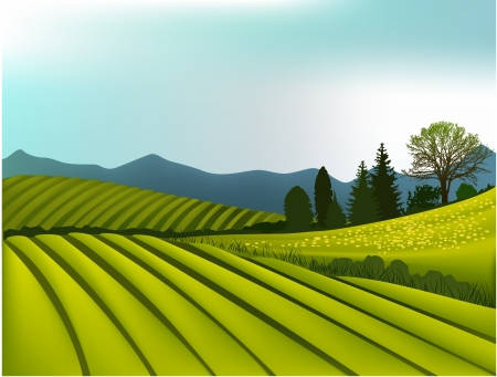Rural landscape with mountains Vector