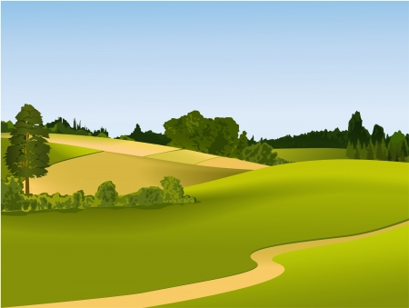 Green landscape with road Stock Vector - 14477241