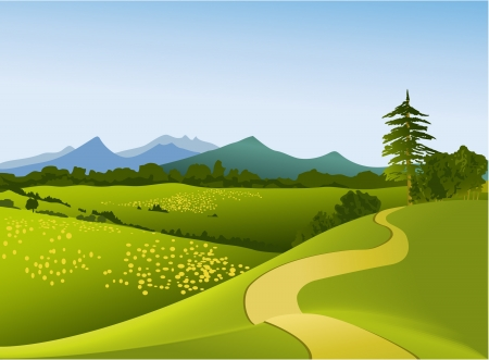 Berglandschap met weg Stock Illustratie