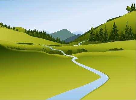 강이 산 풍경 일러스트