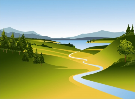 Mountain landscape with river Vector