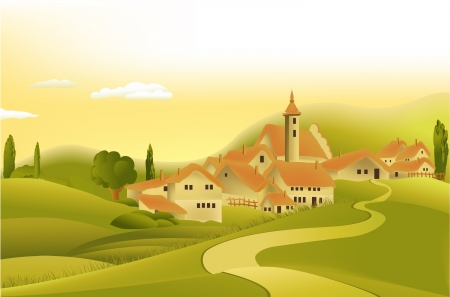 Rural landscape with little town Stock Vector - 14765662
