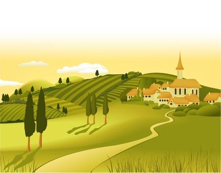 paysage dessin anim�: Paysage rural avec petite ville