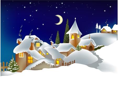 Winter town Stock Vector - 14765663