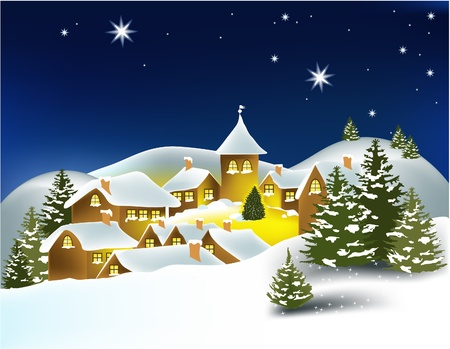 Winter town Stock Vector - 14765623