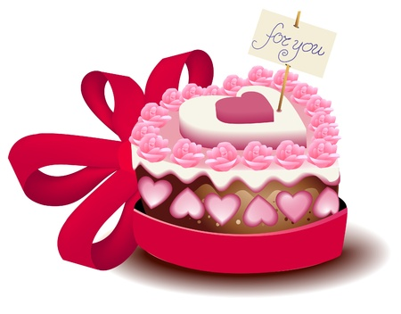 cake birthday: Valentine cake  Illustration