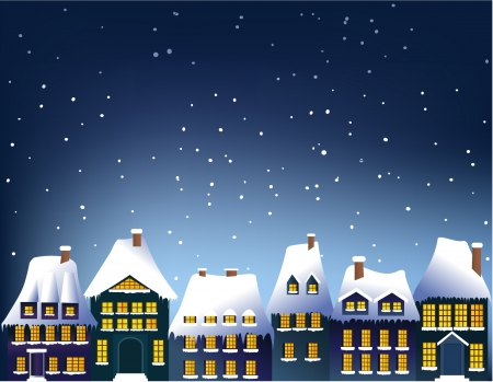 Winter town Stock Vector - 14765612