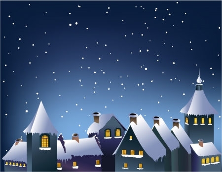 Winter town  Stock Vector - 14765648