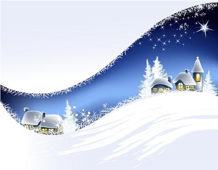 小さな町でクリスマスの風景  イラスト・ベクター素材