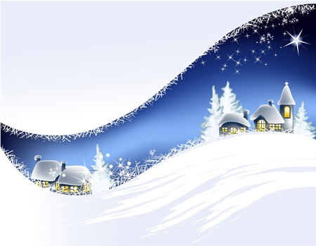Christmas landscape with little town  Stock Vector - 14765650