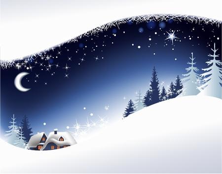 nuit hiver: Paysage de No�l avec des petite ville