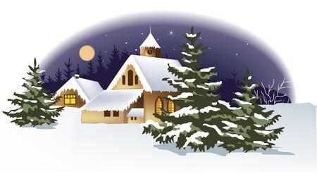 nuit hiver: Paysage d'hiver Illustration