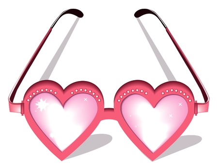 funny glasses: Valentine pink glasses Illustration