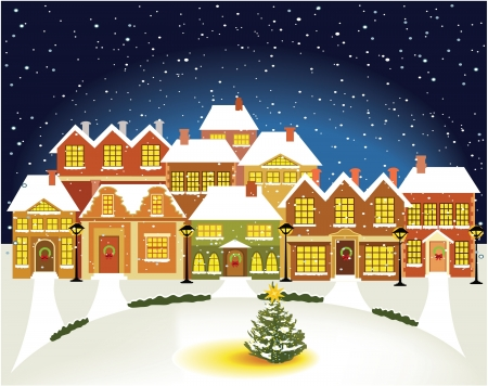 Winter town Stock Vector - 14765259