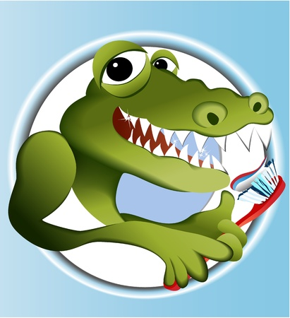Crocodile cleaning teeth  Vector