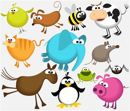 面白い漫画の動物  イラスト・ベクター素材