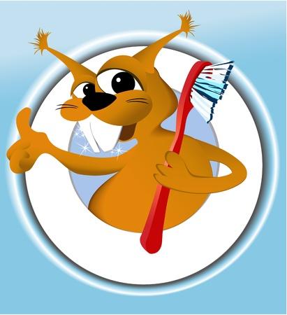 smile  teeth: Squirrel cleaning teeth  Illustration