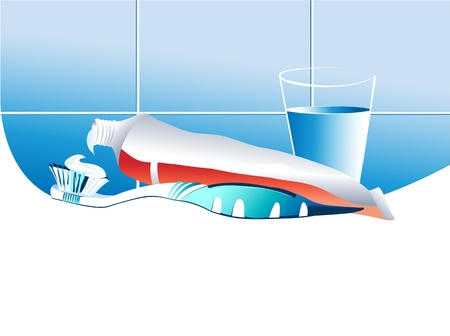 Toothbrush and toothpaste  Stock Vector - 15118461