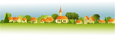 villages: Rural landscape with little town Illustration