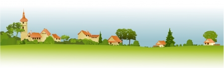 panoramic landscape: Rural landscape with little town Illustration