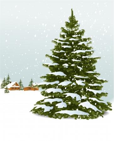 silhouette arbre hiver: Arbre de No�l Illustration