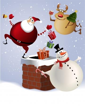 크리스마스 굴뚝 일러스트
