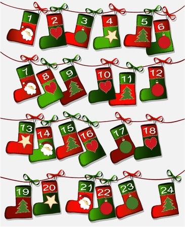december kalender: Kerst kalender met handwerk sokken Stock Illustratie